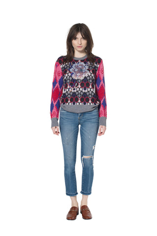 """GEOMETRIC FLORAL"" CREWNECK CASHMERE SWEATER - Women's Knits - Libertine"