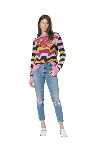 """MELTING STRIPES"" CREWNECK CASHMERE SWEATER - Women's Knits - Libertine"