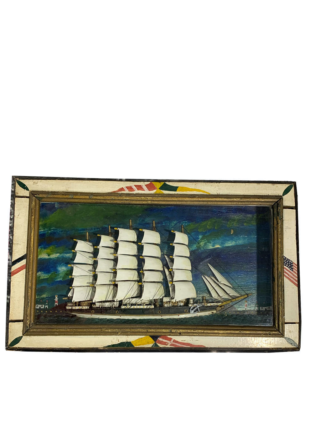 FANTASTIC MID TO LATE 19TH CENTURY AMERICAN SHIP DIORAMA WITH PAINTED FRAME - Accessories - Libertine