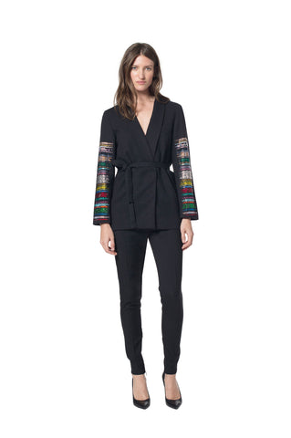 """FRIDAY NIGHT STRIPES"" TIE BLAZER - Women's Jackets & Coats - Libertine"