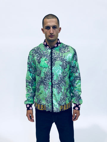 GREEN FLORAL SEQUIN BOMBER JACKET - Men's Jackets & Coats - Libertine