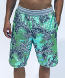GREEN FLORAL SEQUIN SHORTS - Men's Bottom's - Libertine