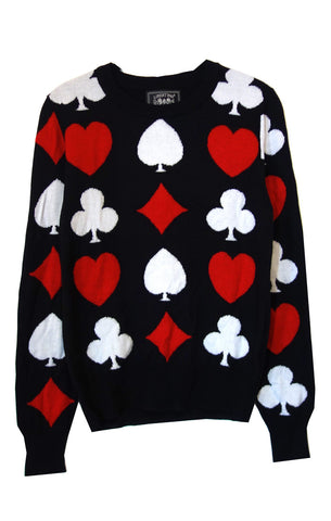 """LIFE IS A GAME, BRIDGE IS SERIOUS"" CREWNECK CASHMERE PULLOVER -  - Libertine"