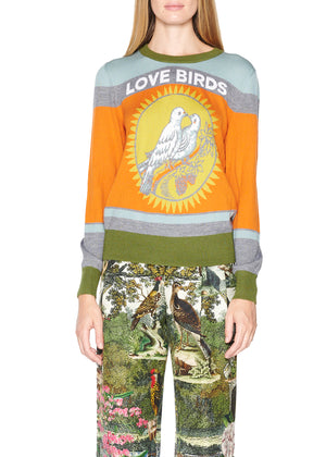 'Love Birds' Cashmere crewneck pullover - Women's Knits - Libertine