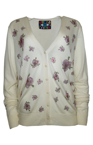 Pink Crystal Flowers V-Neck Cardigan - Women's Knits - Libertine