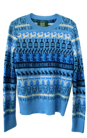LOVE 4 LIFE CREWNECK CASHMERE PULLOVER IN BLUE -  - Libertine