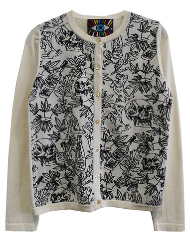 DOGS AND WINE CREWNECK CARDIGAN BUTTON-UP -  - Libertine