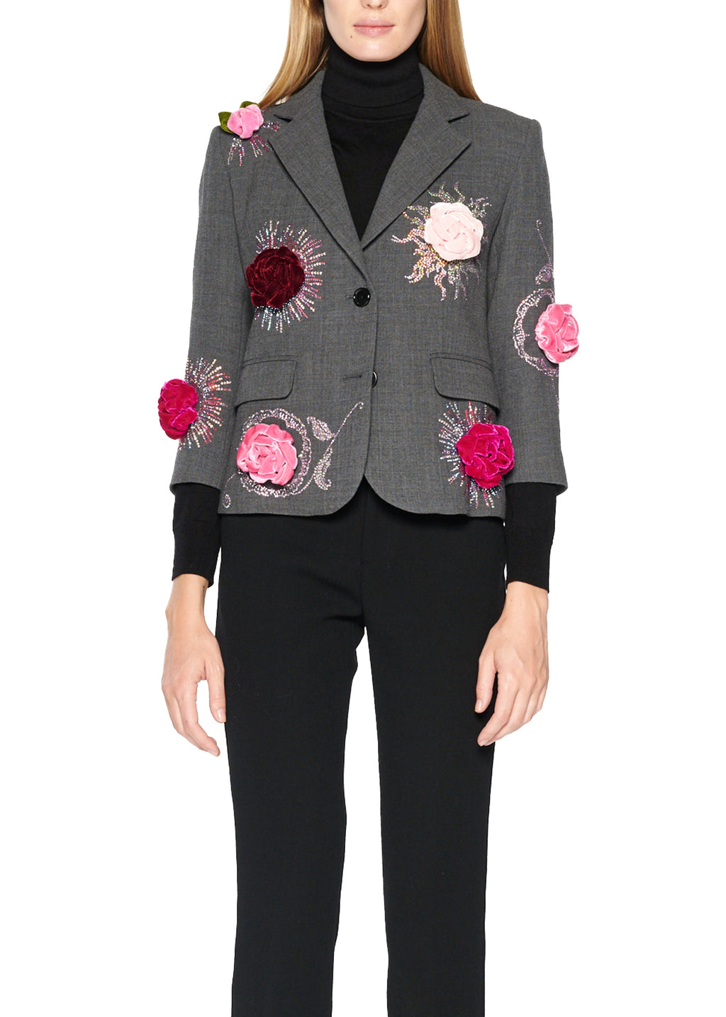 Velvet Roses All Over Blazer