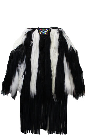 """CORRINE"" BLACK & WHITE GOAT FUR JACKET - Women's Jackets & Coats - Libertine"