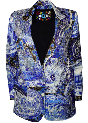 SHATTERED ''PLATES AND PLATTERS'' LONG BLAZER - Women's Jackets & Coats - Libertine