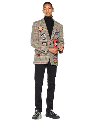 Autumn Plaid Suit Jacket with Patches - Men's Jackets & Coats - Libertine