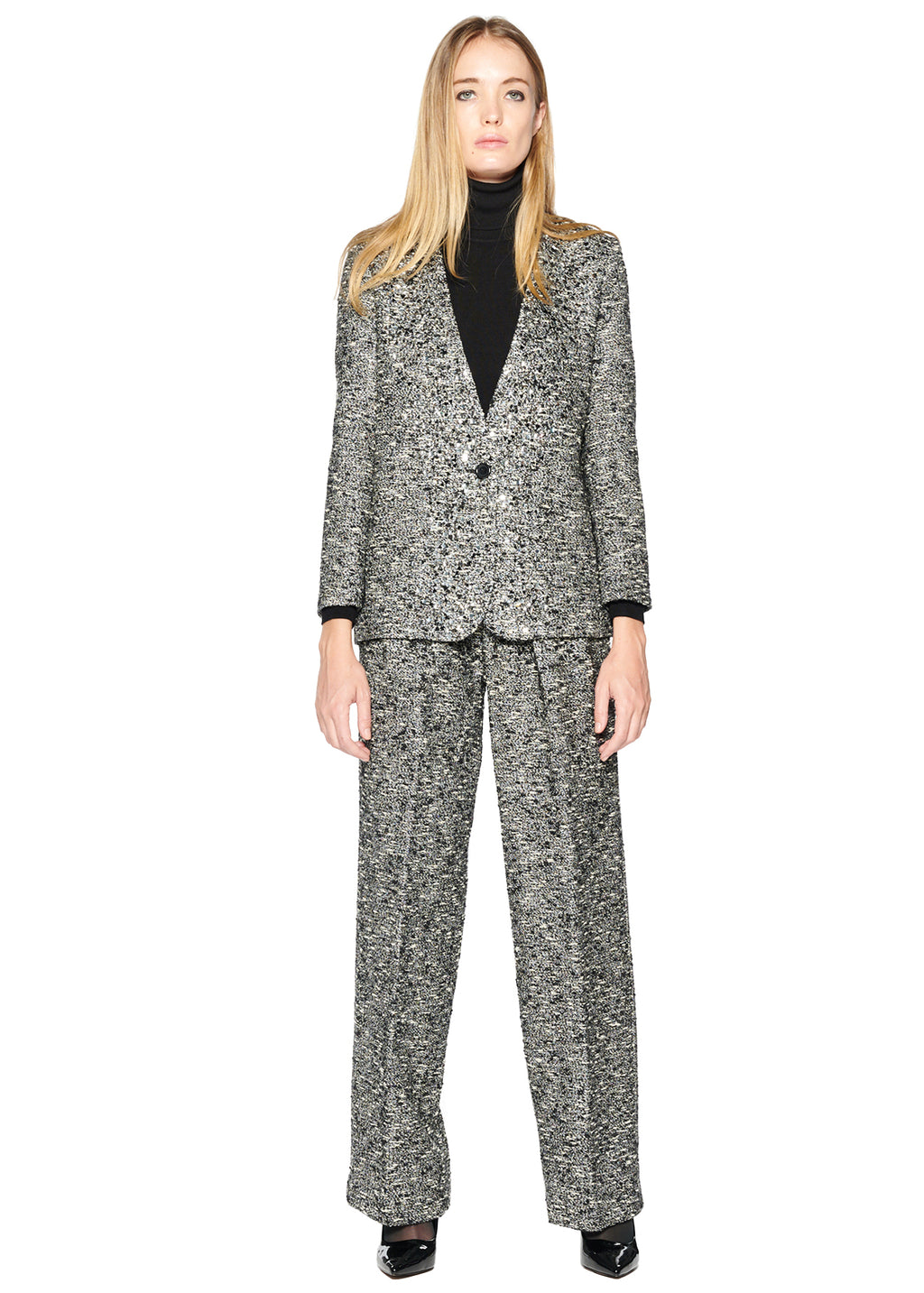 SPARKLE TWEED V-NECK BLAZER WITH CRYSTAL - Women's Jackets & Coats - Libertine
