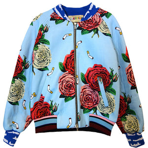 """Cigarettes And Flowers"" Bomber Jacket With Crystals - Women's Jackets & Coats - Libertine"