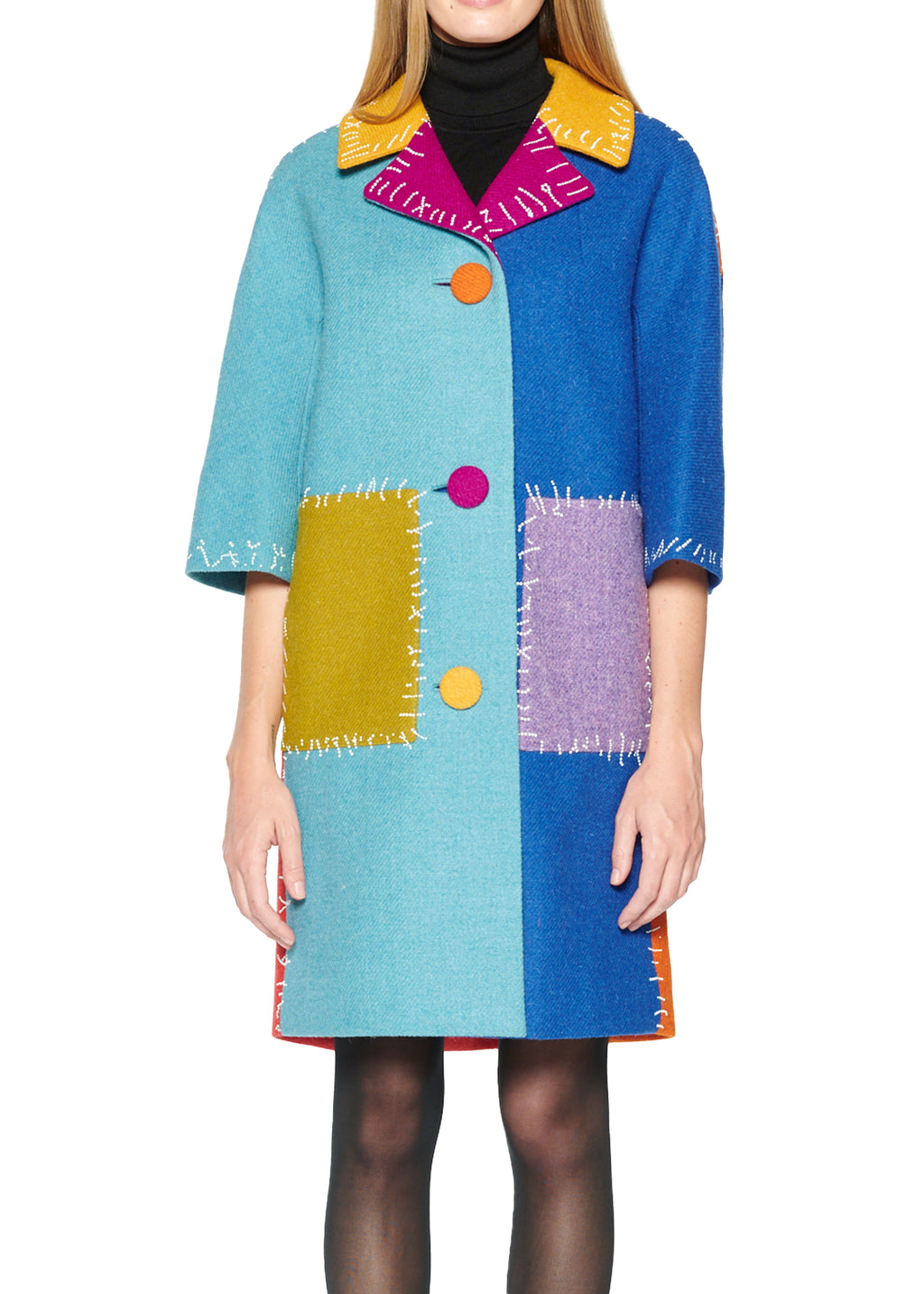 Trompe L'oeil Color block Wool Coat