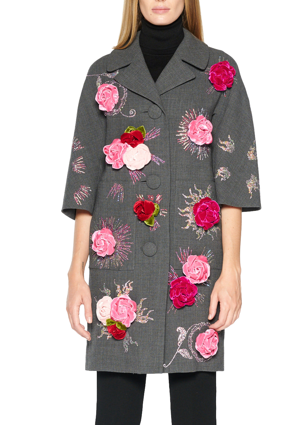 Velvet Roses Patch Pocket Coat