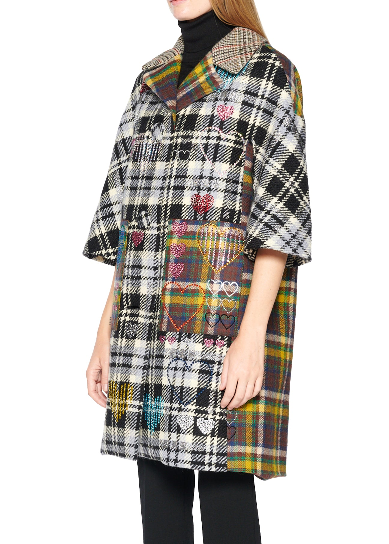 PLAID COMBO COAT WITH CRYSTALS - Women's Jackets & Coats - Libertine