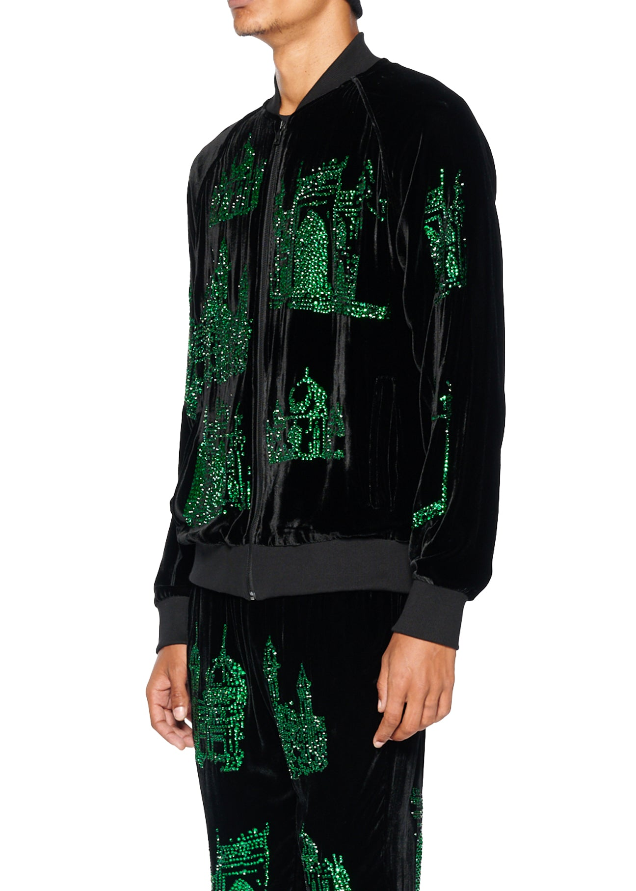 'GREEN TEMPLES' VELVET TRACK JACKET - Men's Jackets & Coats - Libertine