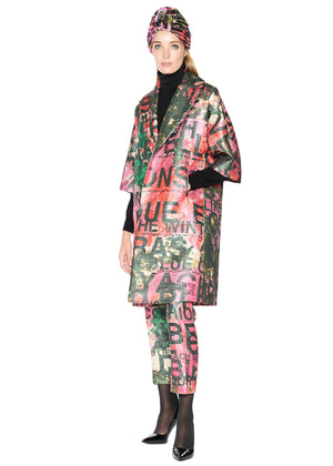 'A Dream for Winter' Jacquard Wide Collar Coat - Women's Jackets & Coats - Libertine