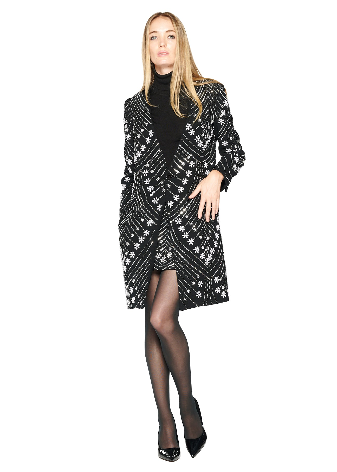'CHEVRON PEARLS' V-NECK COAT - Women's Jackets & Coats - Libertine
