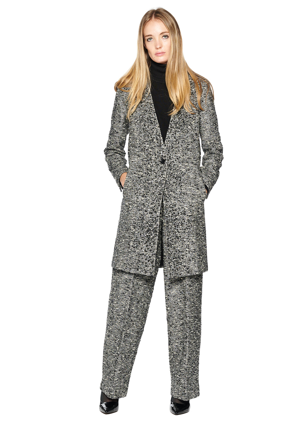 SPARKLE TWEED V-NECK COAT WITH CRYSTALS - Women's Jackets & Coats - Libertine