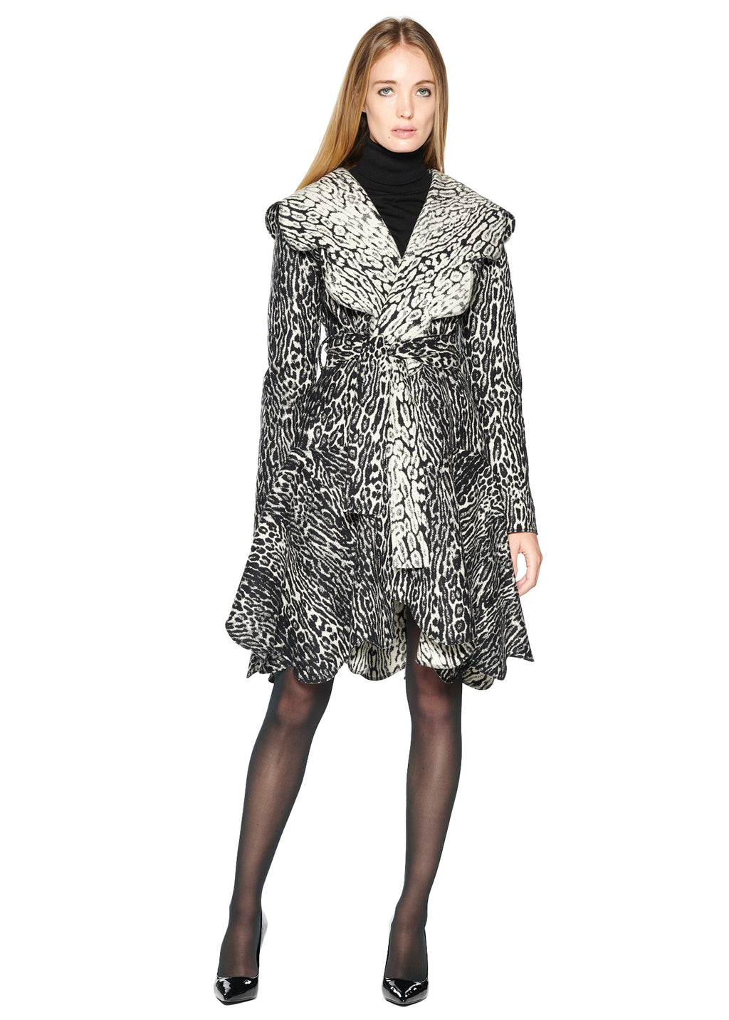 BLACK AND WHITE LEOPARD SCALLOP EDGE COAT - Women's Jackets & Coats - Libertine