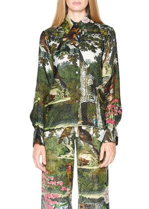 'Ottoman Empire Birds' Button Front Silk Shirt - Women's Tops - Libertine
