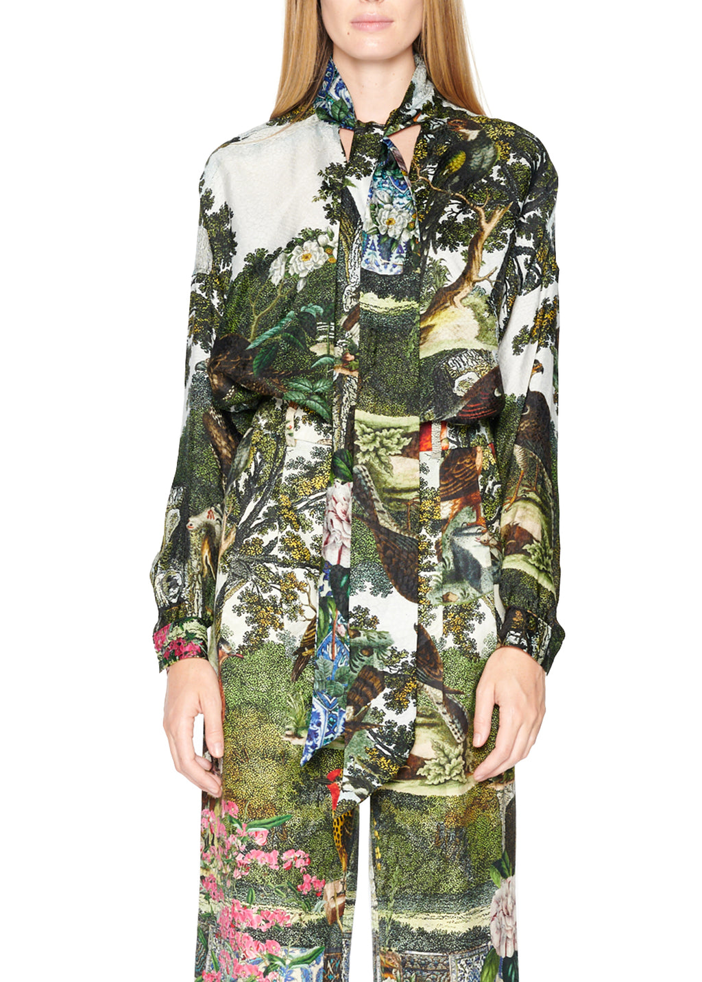 'Ottoman Empire Birds' tie blouse - Women's Tops - Libertine