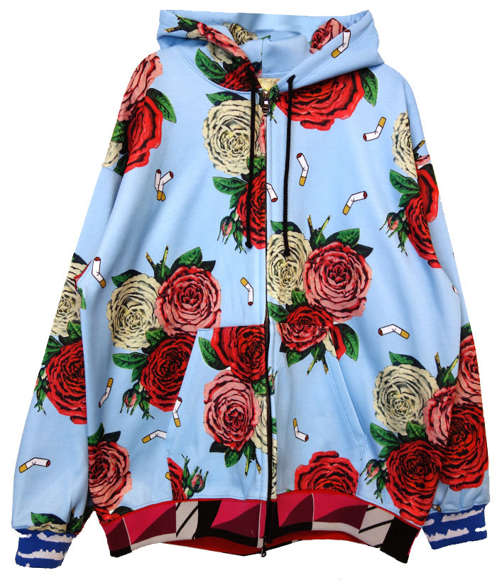 """Cigarettes And Flowers"" Hooded Sweatshirt - Men's Jackets & Coats - Libertine"