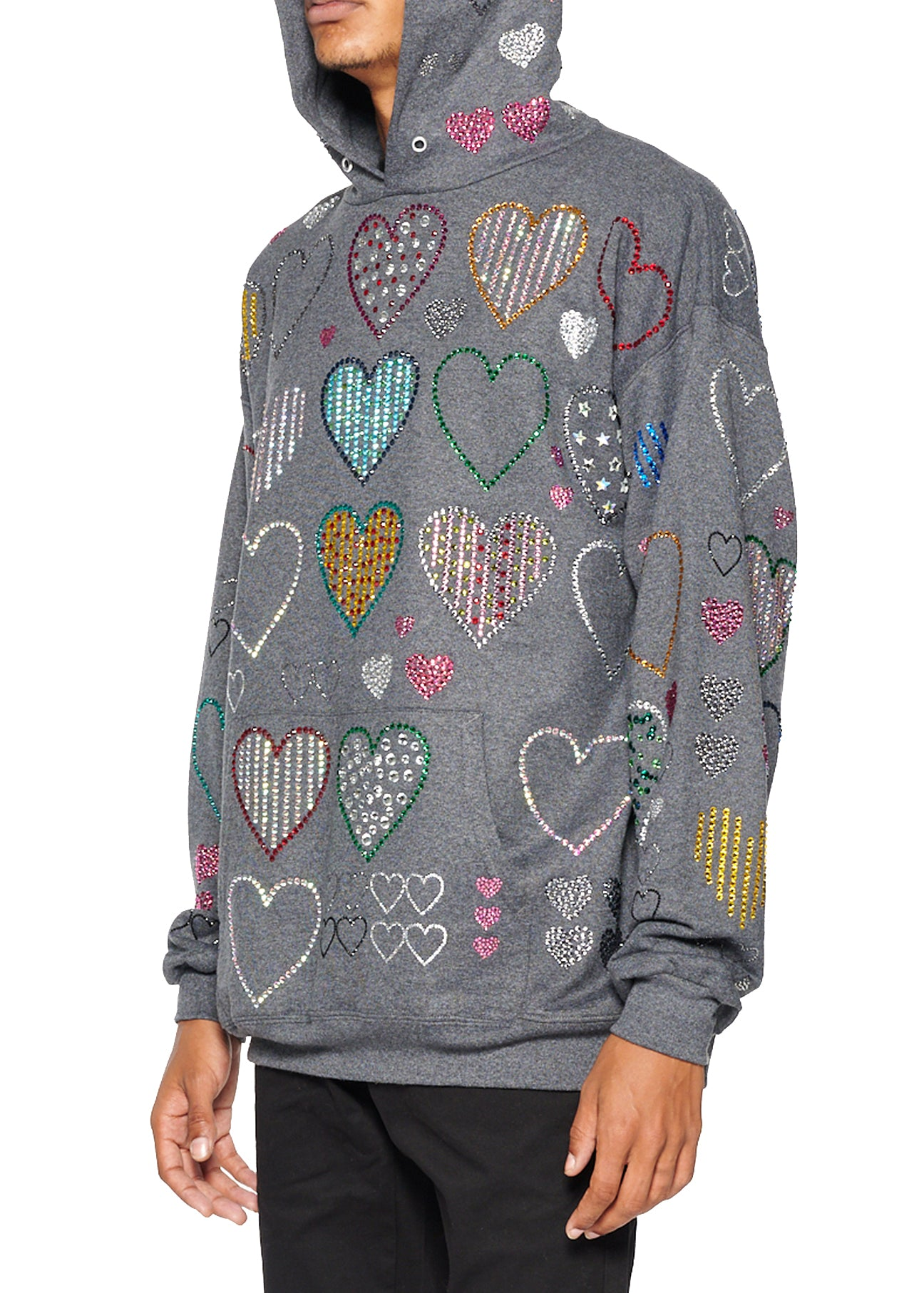 ALLOVER HEARTS GREY HOODIE PULLOVER SWEATSHIRT - Men's Jackets & Coats - Libertine