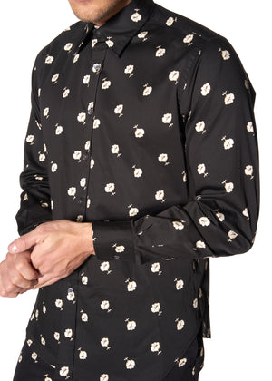 """VICTORIAN MOURNING FLORAL"" PRINT CLASSIC SHIRT - Men's Tops - Libertine"