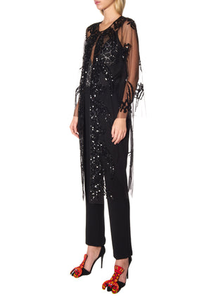 BLACK SEQUIN TULLE PARTY ROBE - Women's Jackets & Coats - Libertine