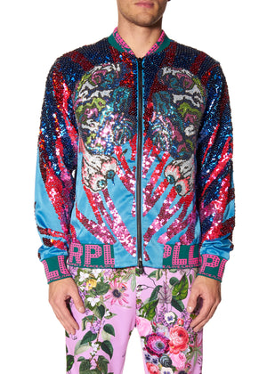 """LUCKY CAT"" PAILETTE BOMBER JACKET - Men's Jackets & Coats - Libertine"