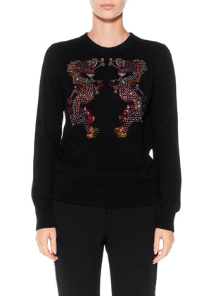 """MAGICAL MING DRAGON"" CREWNECK CASHMERE PULLOVER - Women's Knits - Libertine"