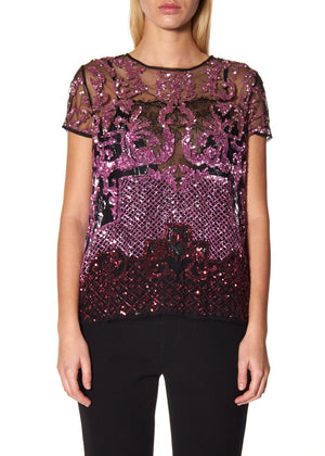 PINK SEQUIN TULLE T-SHIRT - Women's Tops - Libertine