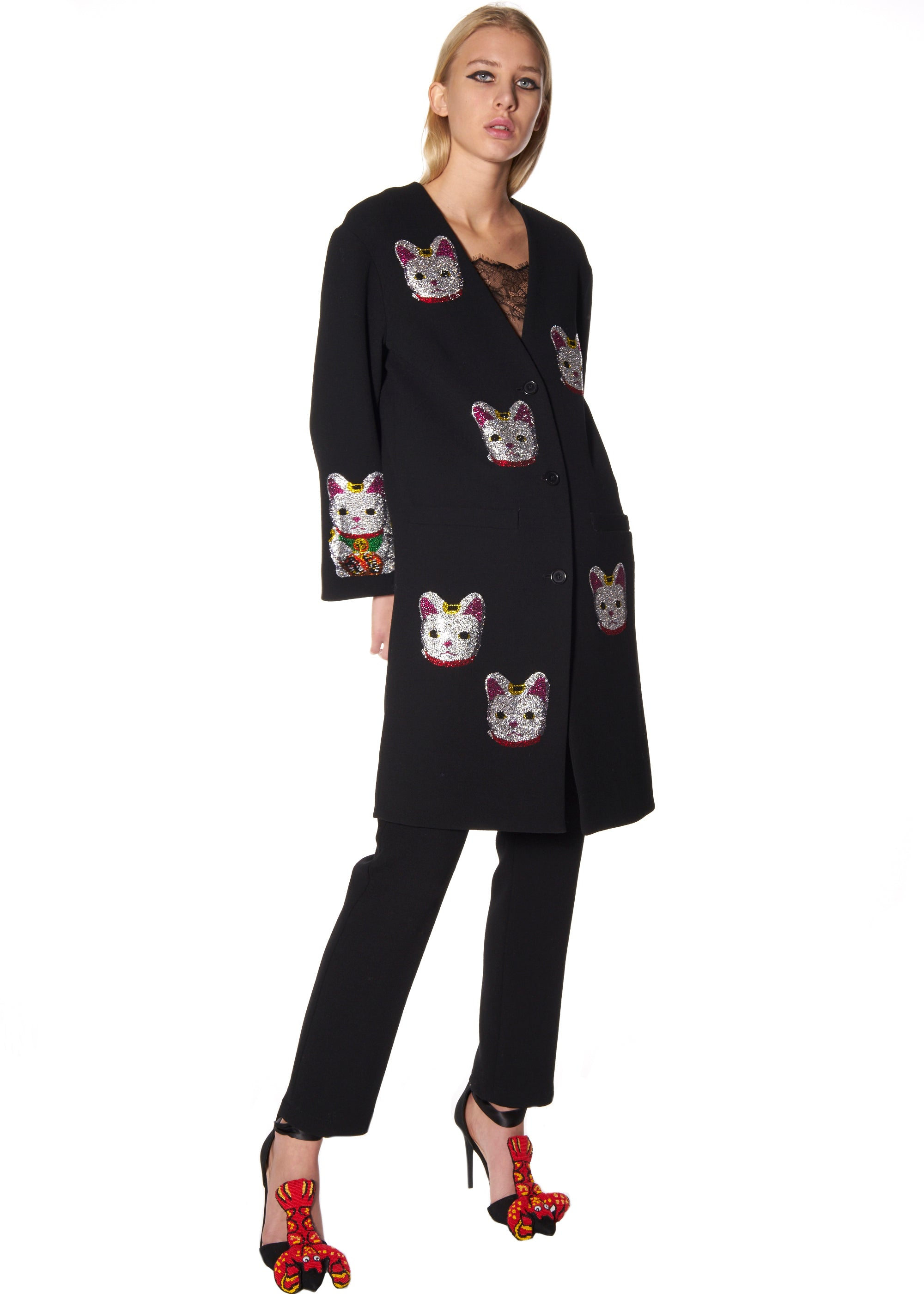 """LUCKY CAT"" COLLARLESS COAT - Women's Jackets & Coats - Libertine"