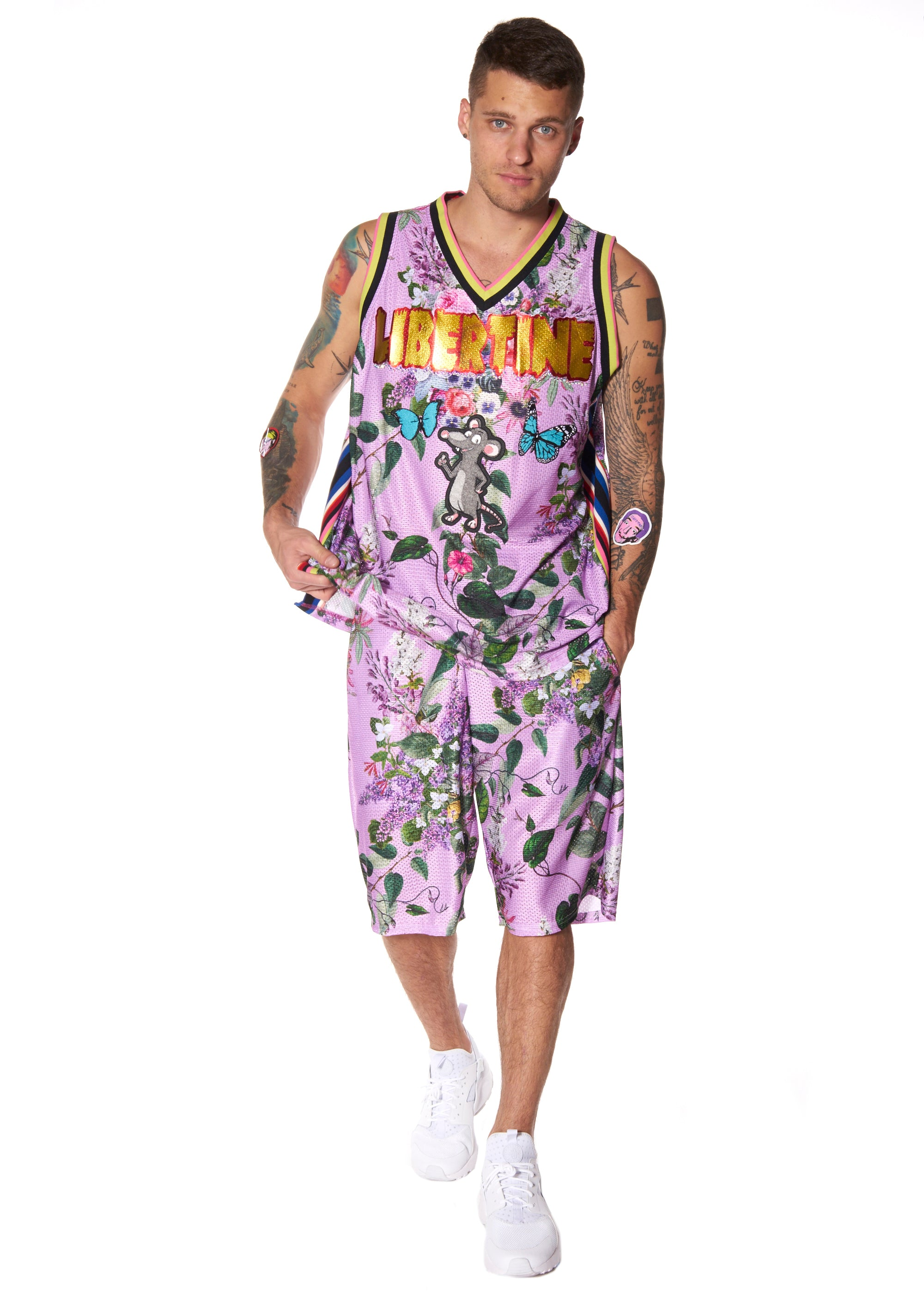 """HAMISH FLORAL"" MESH BASKETBALL JERSEY WITH PATCHES - Men's Tops - Libertine"