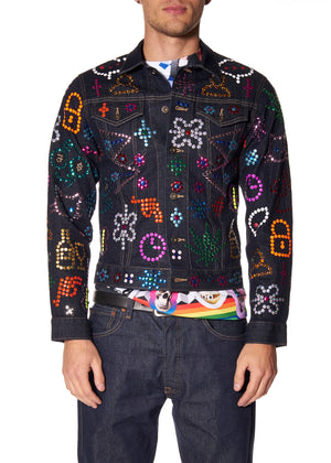 """SYMBOLS"" DENIM JACKET - Men's Jackets & Coats - Libertine"