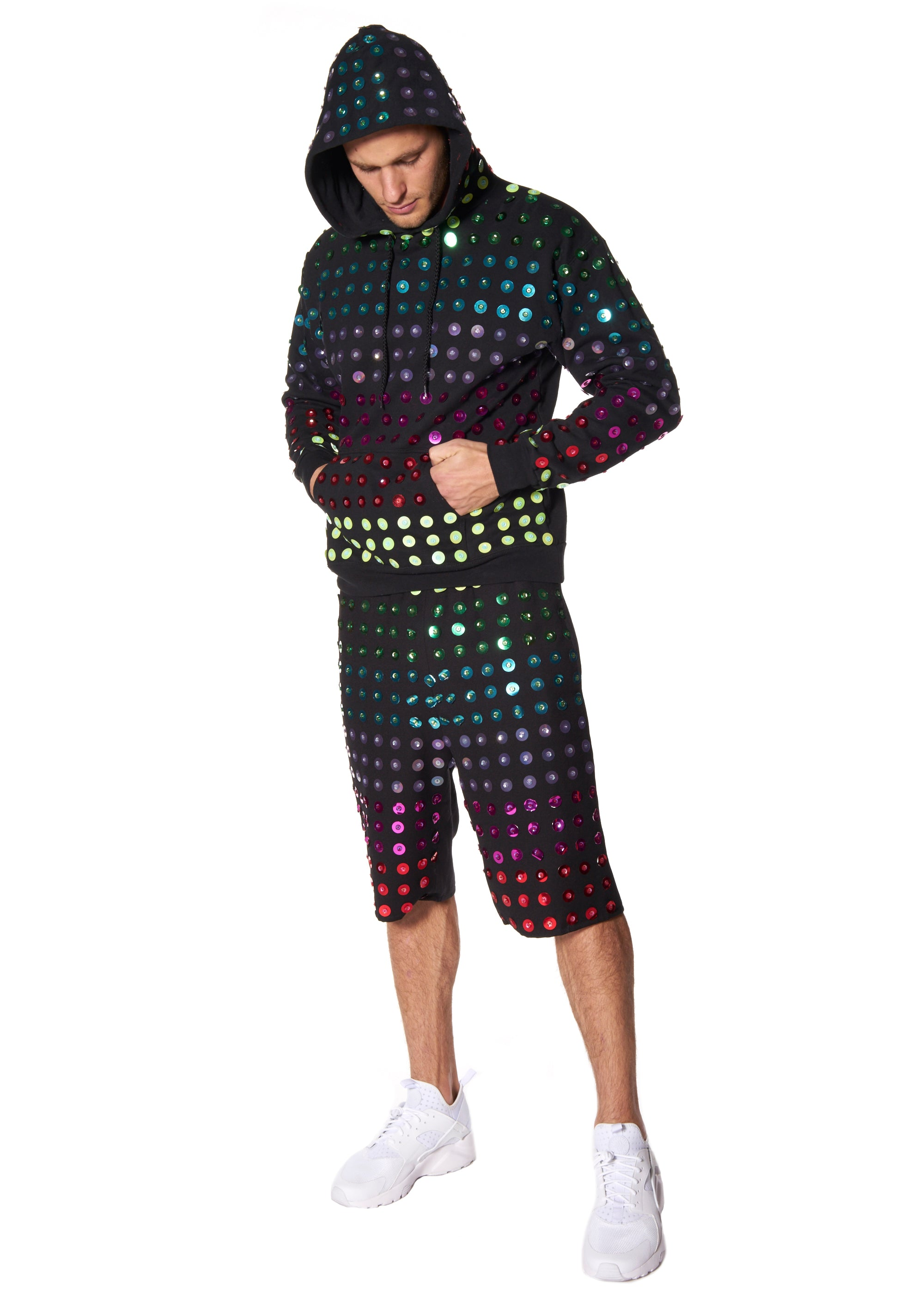 RAINBOW PAILLETTES HOODED SWEATSHIRT - Men's Tops - Libertine