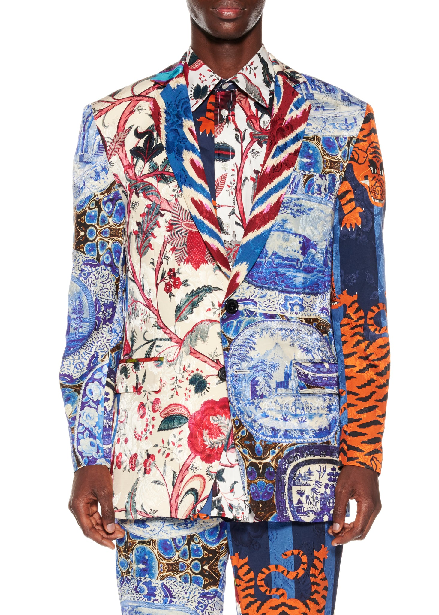 Mixed Print Suit Jacket - Men's Jackets & Coats - Libertine