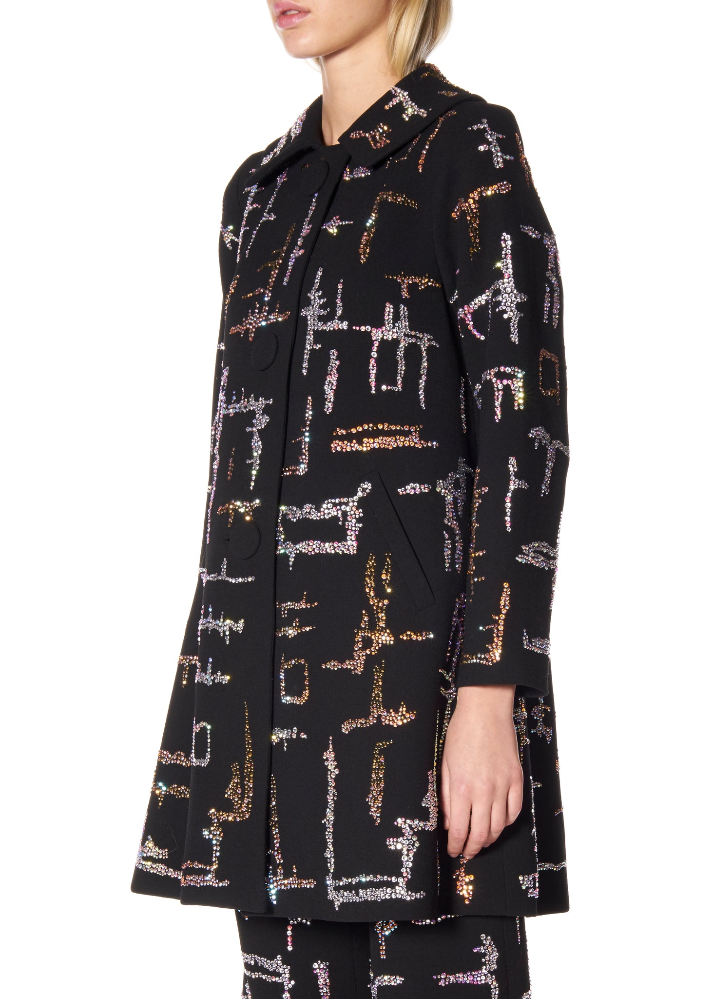 """SHANGHAI GEOMETRIC"" PETER PAN COLLAR COAT - Women's Jackets & Coats - Libertine"