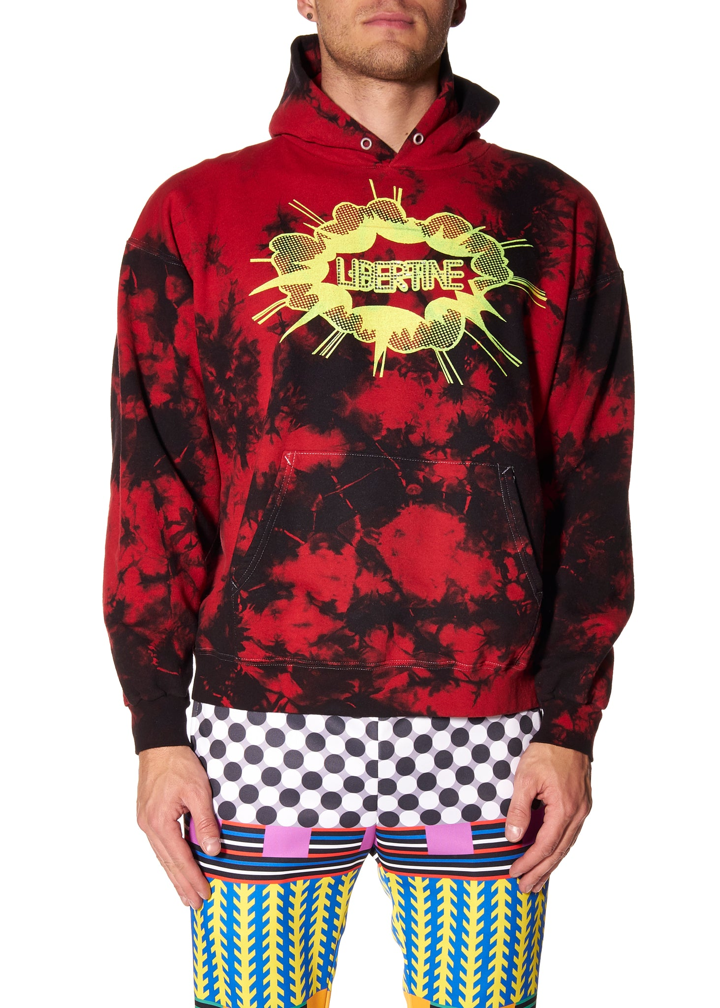 LIBERTINE SCREEN PRINT TIE DYE HOODED SWEATSHIRT - Men's Tops - Libertine