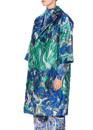"""Van Gogh's Irises"" Oversized Coat - Women's Jackets & Coats - Libertine"