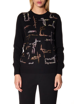 """SHANGHAI GEOMETRIC"" CREWNECK CASHMERE PULLOVER - Women's Knits - Libertine"