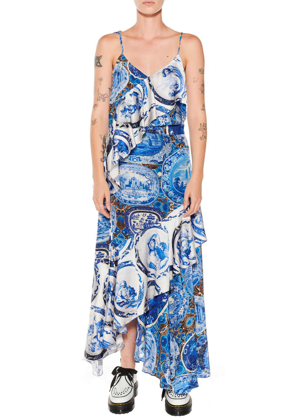 Mixed Print Asymmetrical Skirt - Women's Bottoms - Libertine