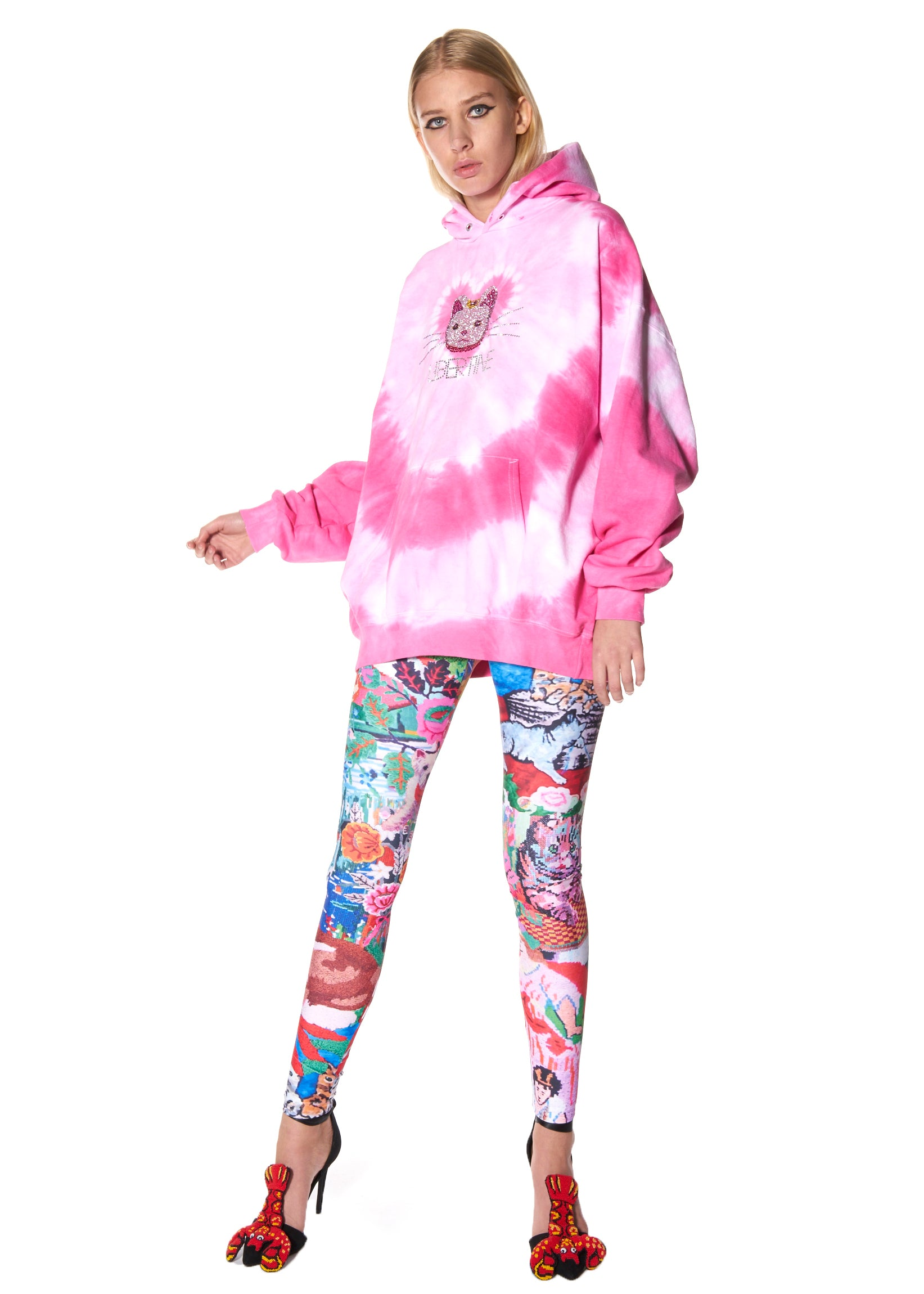 """LUCKY CAT"" TIE DYE HOODED PULLOVER SWEATSHIRT - Men's Tops - Libertine"