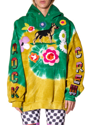 """DOG & FLOWERS"" TIE DYE HOODED SWEATSHIRT - Men's Tops - Libertine"