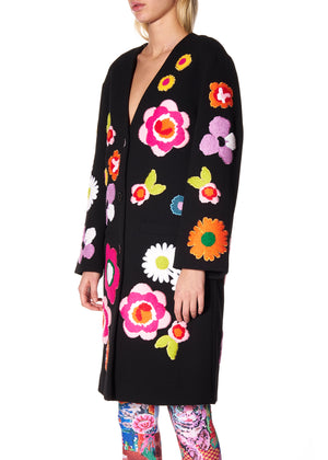 """POP FLOWERS"" COLLARLESS COAT - Women's Jackets & Coats - Libertine"