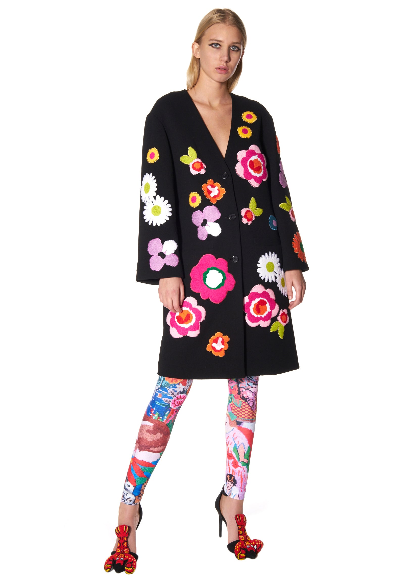POP FLOWERS COLLARLESS COAT - Women's Jackets & Coats - Libertine