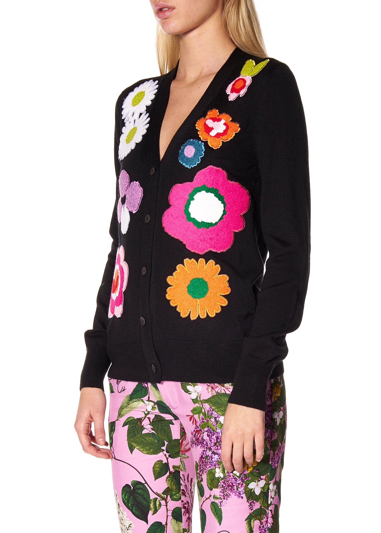 """POP FLOWERS"" CASHMERE CARDIGAN BUTTON-UP -  - Libertine"