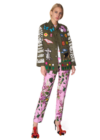 SCREEN PRINT AND PATCH COLLAGE ARMY JACKET - Women's Jackets & Coats - Libertine